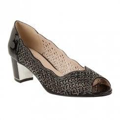Lotus Attica Diamante Peep Toe Court Shoes - Black Patent