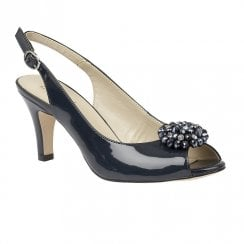 Lotus Elodie Sling-Back Sandals Shoes - Navy Patent