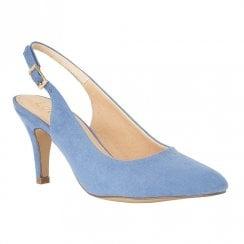 Lotus Lizzie Cornflower Microfibre Heeled Sling-Back Shoes - Blue