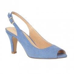 Lotus Zaria Cornflower Microfibre Heeld Peep Toe Sling-back Shoes - Blue