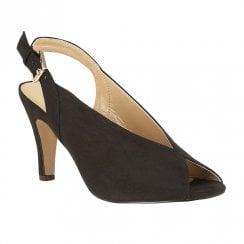 Lotus Akiko Microfibre  Peep Toe  Sling-Back Court Shoes - Black