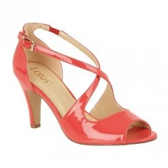 Lotus Rosalie Open Toe Strappy Shoes - Coral Patent