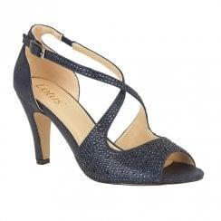 Lotus Rosa Diamante Open-Toe Sandal Shoes - Navy