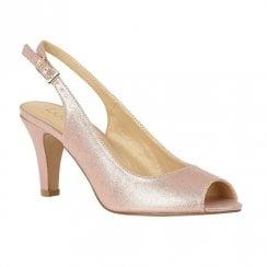 Lotus Larissa Metallic Peep Toe Sling-back Sandal Heels - Pink