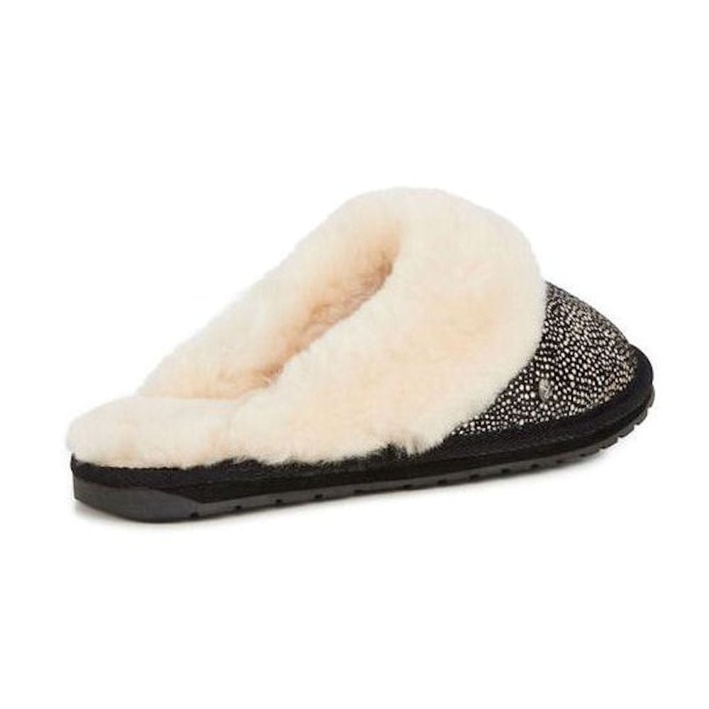 750ea2dc5 ... Emu Australia Emu Jolie Fur Spot Womens Mule Slippers - White/Black -  W11363 ...