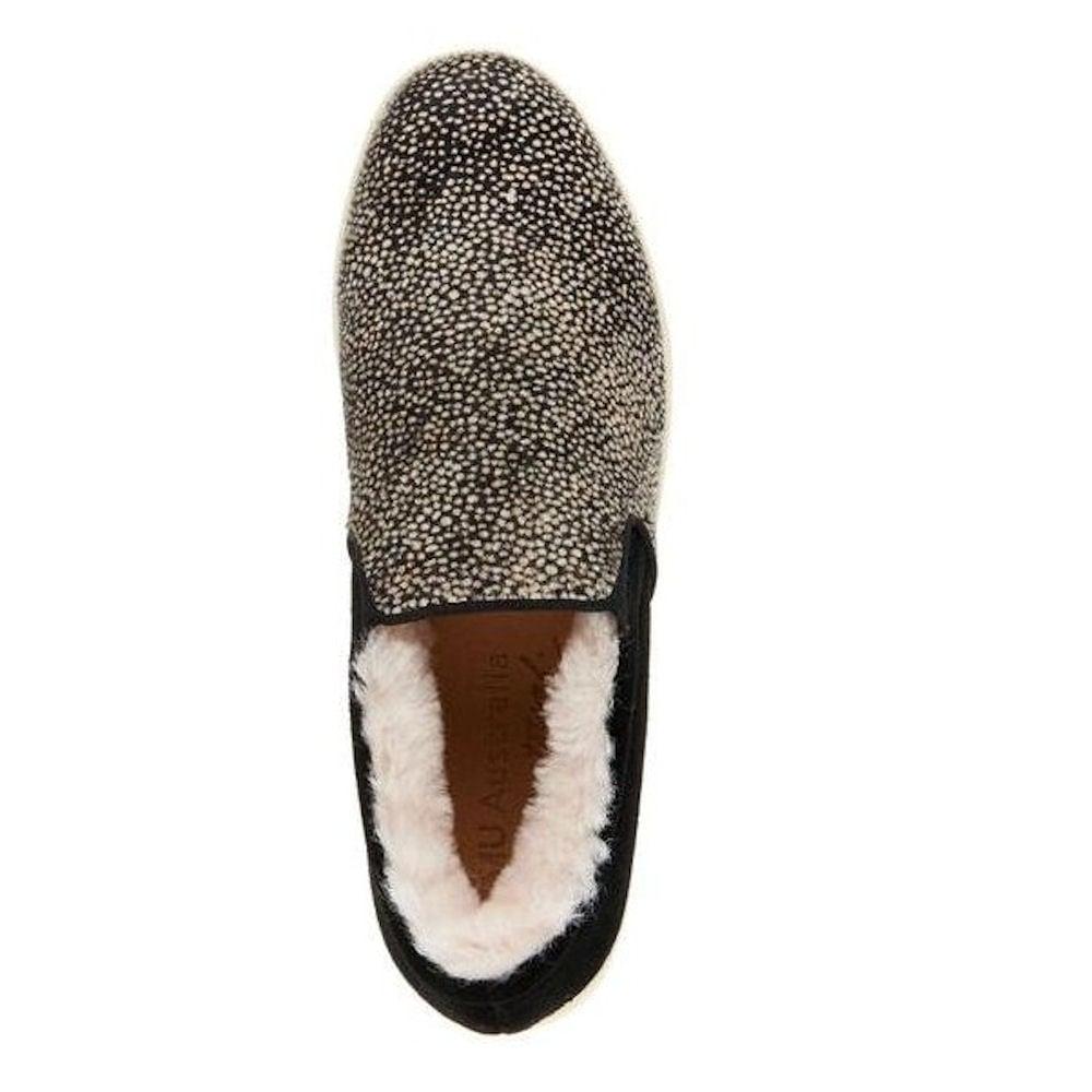 d0837d5058e8 ... Emu Australia Emu Brunswick Fur Spot Womens Sneakers - Black White -  W11374 ...