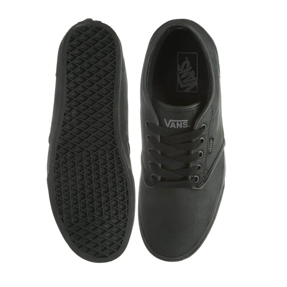 c7cea71553b6 Vans Kids Atwood Triple Black Leather Youth Shoes - V003Z9KNX