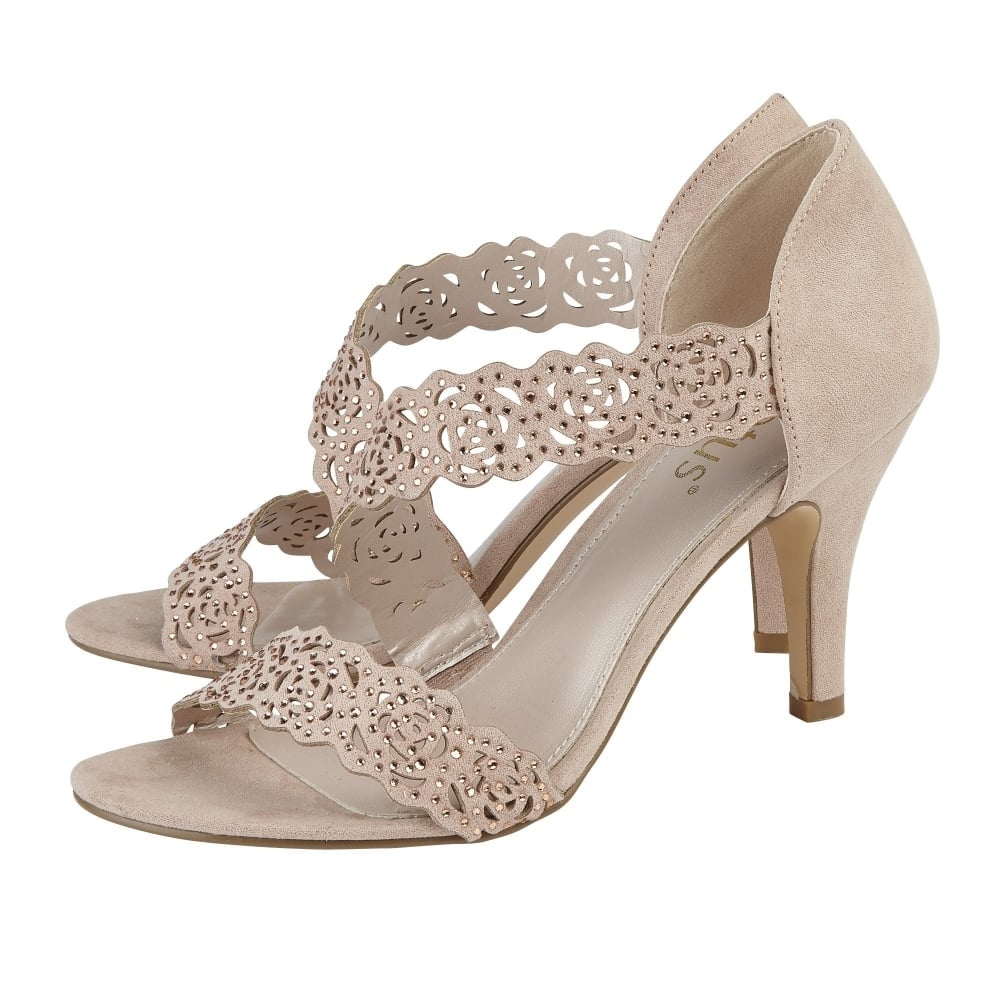 c5daec5a14 Lotus Cattleya Nude & Diamante Heeled Sandals / Millars Shoe Store