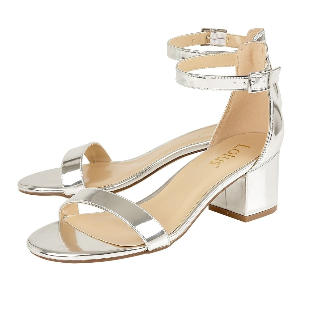 1419d7cdf59 ... Lotus Vitus Silver Strap Low Block Heel Sandals ...