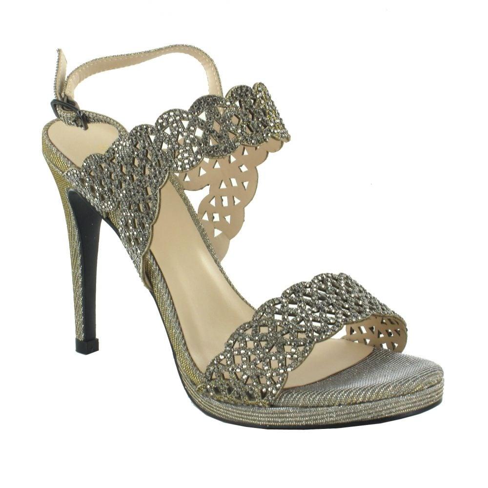 best sneakers 5afc3 516dd Menbur Cagliari Pewter Shimmer Diamond Heeled Sandals 9589