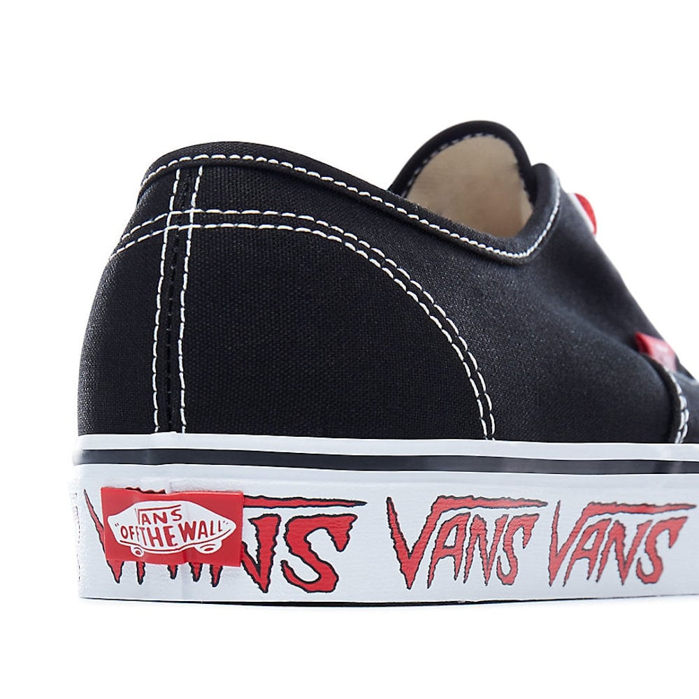 813e7ef4efe Vans Sketch Sidewall Authentic Black Red Canvas Trainers VA38EMQ6D ...