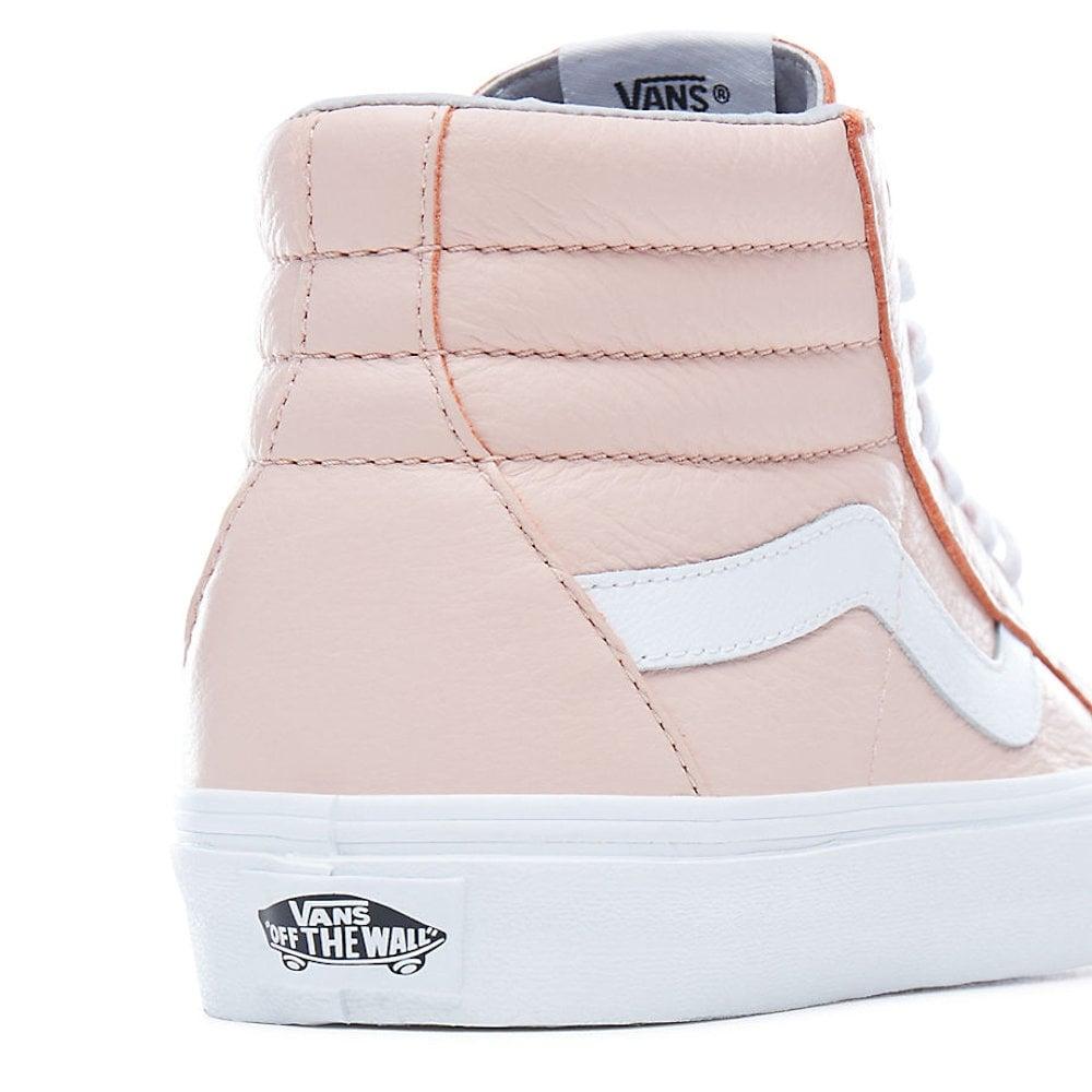 7acf0ead9ab088 Vans Womens Pink Leather Sk8-Hi Reissue Hi Top VA2XSBQD6   Millars ...