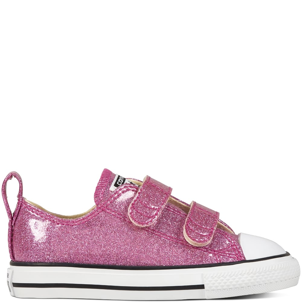 0df4c1c37262 ... Converse Kids Chuck Taylor All Star 2V Pink Glitter Velcro Trainers ...
