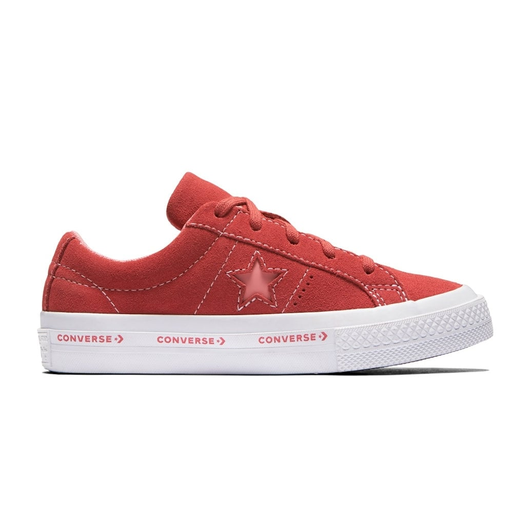655ed434f36e ... Converse Youth One Star Suede Wordmark Trainers - Paradise Pink ...