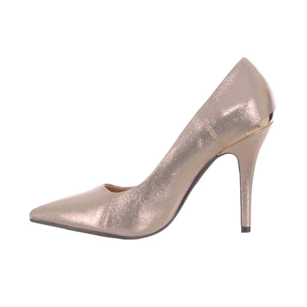 bc9a2be9e33 ... Glamour Womens Carrie Rose Gold Metallic Heeled Court Shoes ...