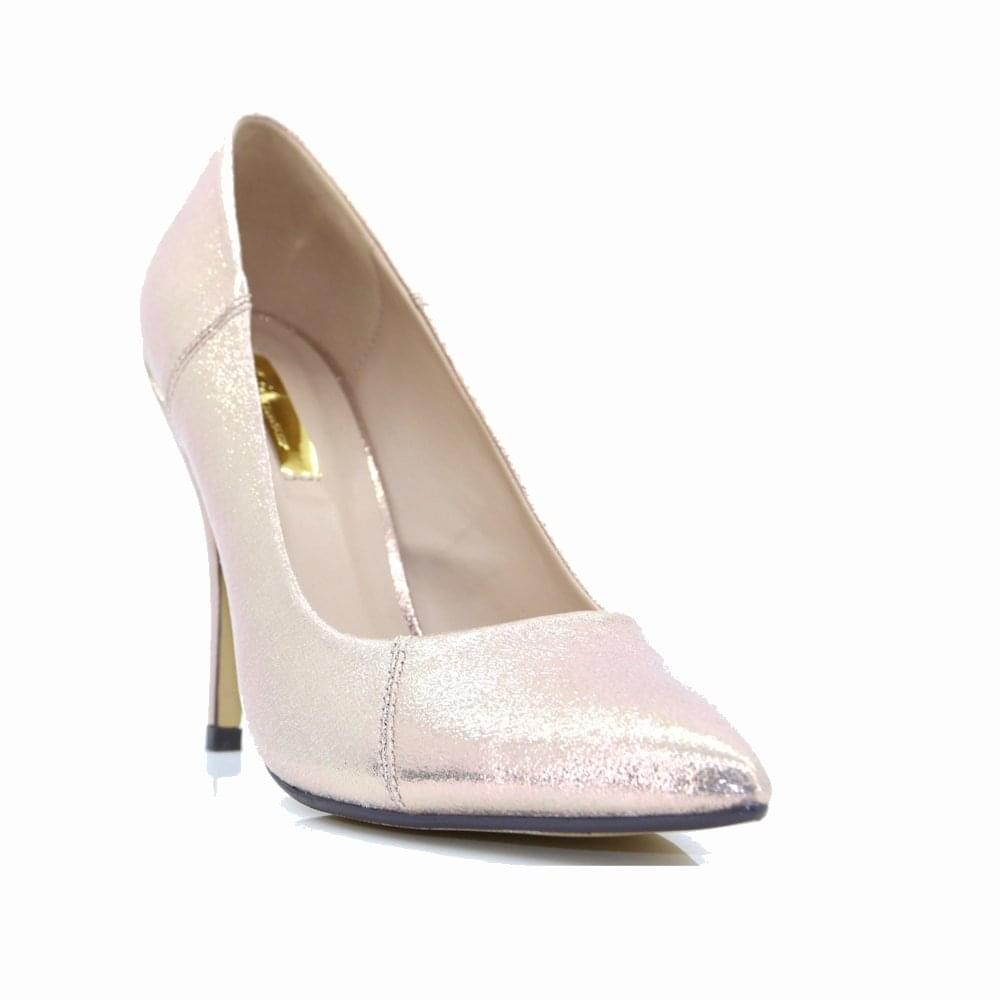 b945a2beba7 ... Glamour Womens Carrie Rose Gold Metallic Heeled Court Shoes ...