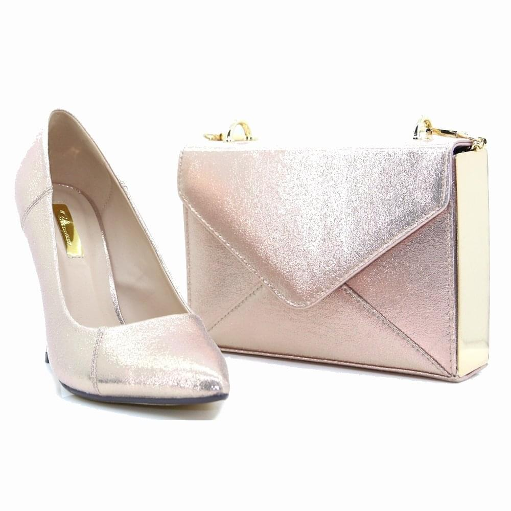 fdc353dec7b Glamour Womens Carrie Rose Gold Metallic Heeled Court Shoes ...