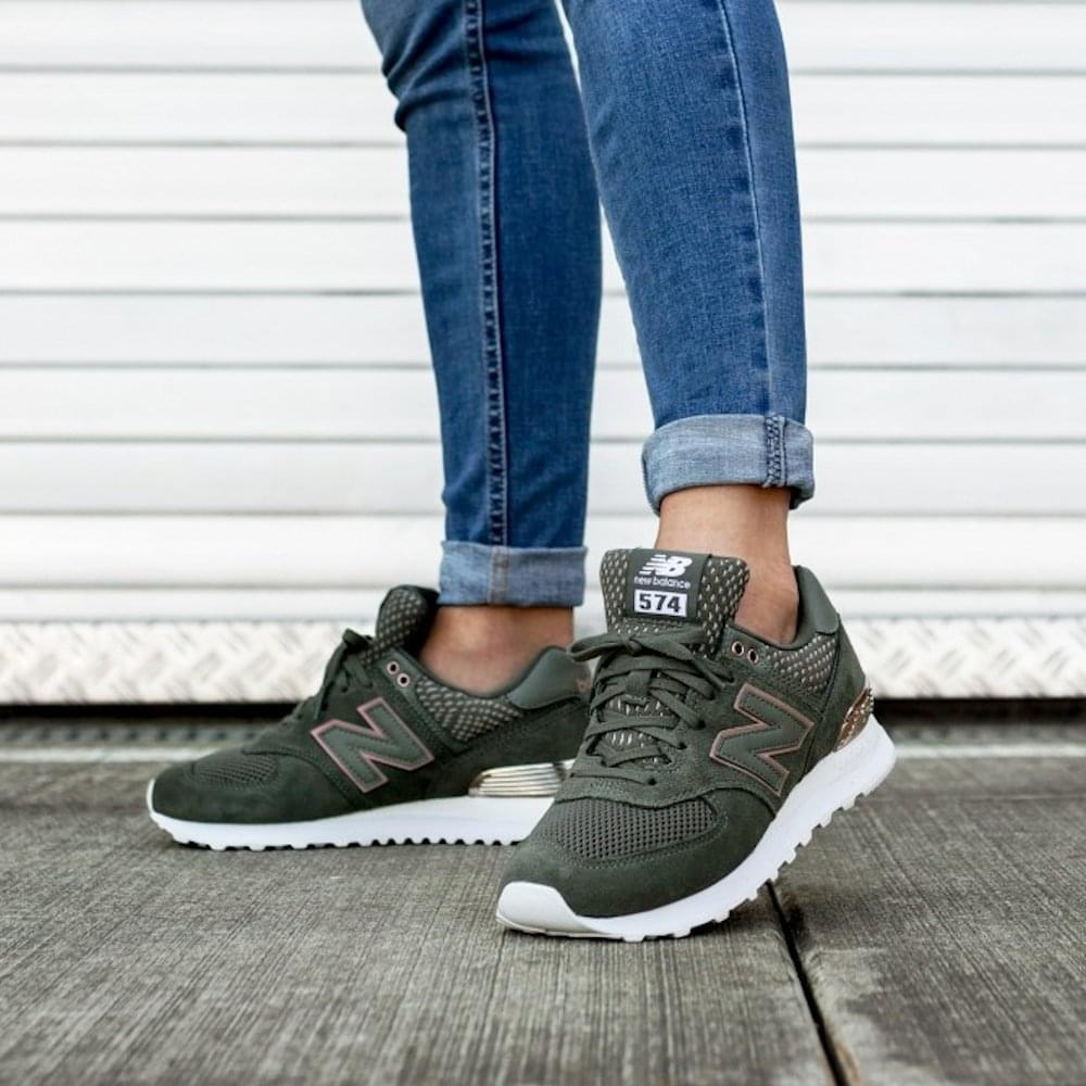 purchase cheap 8b11a 7e1be ... New Balance Womens 574 Khaki Green Rose Gold Suede Sneakers ...