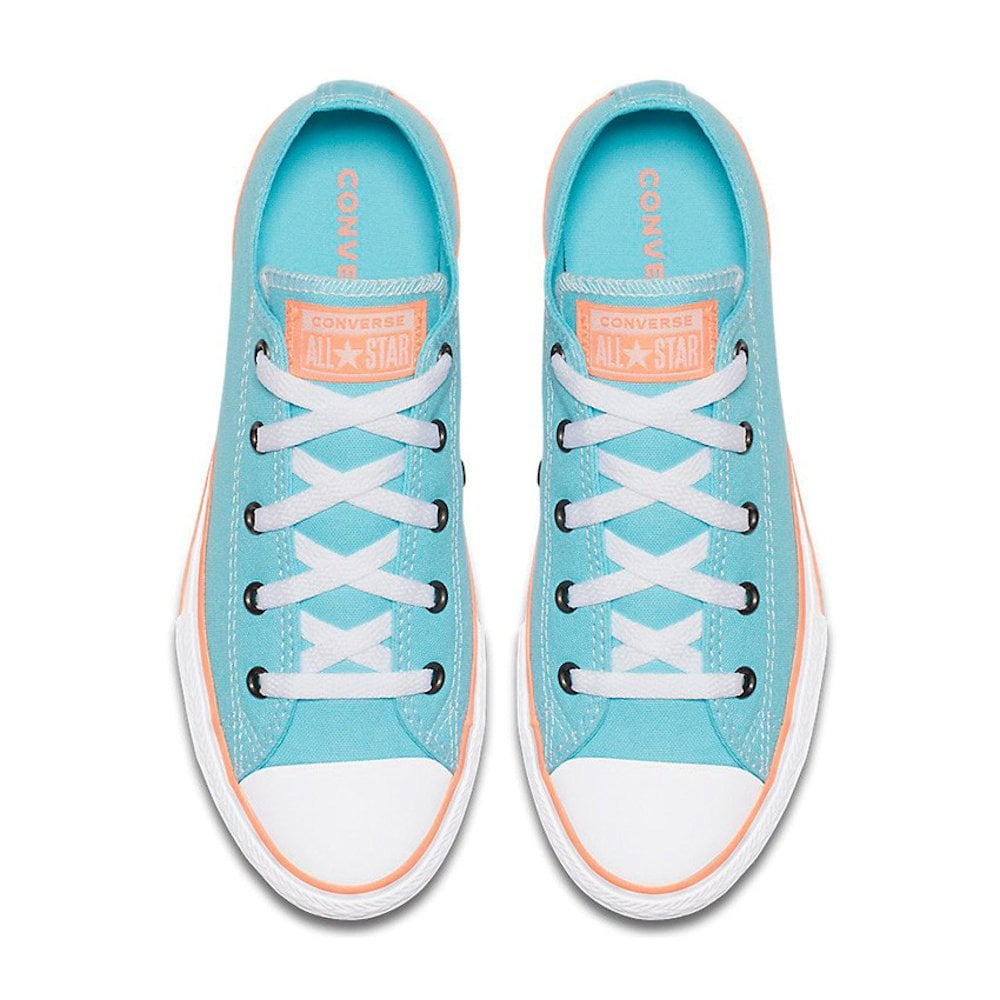 24378e84de8 ... Converse Kids Girls Chuck Taylor All Star Kids Low Top Trainers - Bleached  Aqua ...