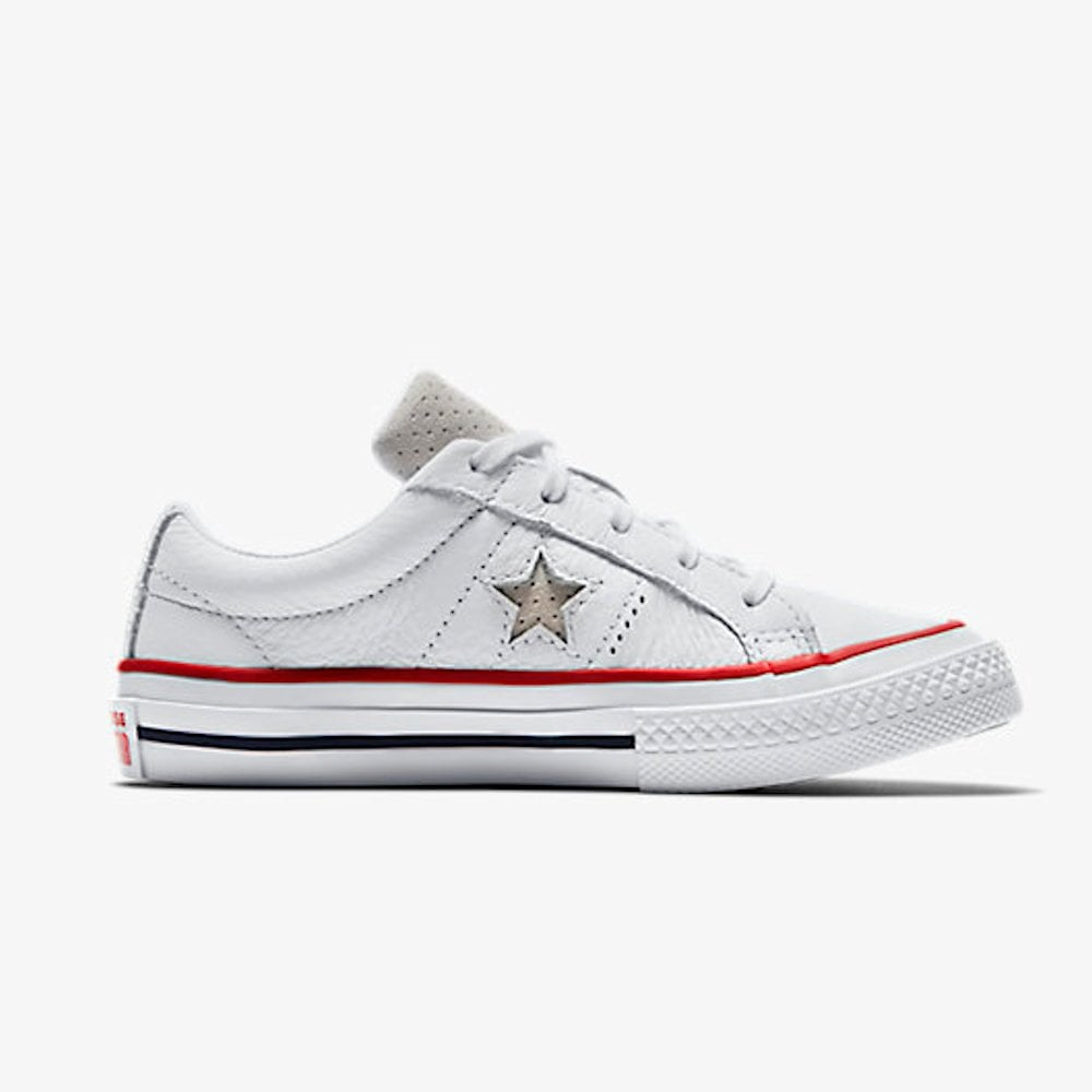b16a757b9833 Converse Kids Junior One Star Leather New Heritage Girls Trainers - White