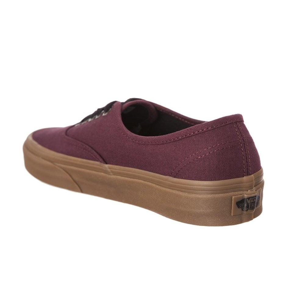 c33a83497d Vans Canvas Burgundy Authentic Gum Outsole Trainers   Millars Shoe Store