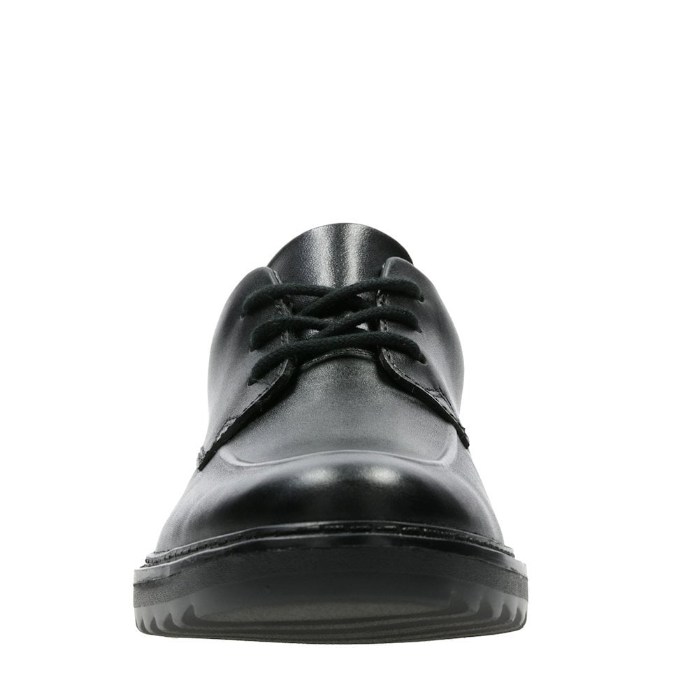 060fc57af ... Clarks Asher Grove Black Leather Boys School Shoes (F) - 26134894 ...