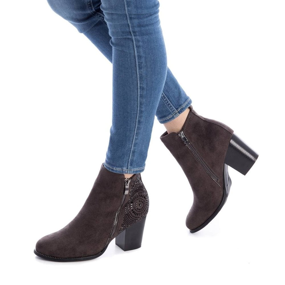 a6ef696625d6 ... XTI Womens Suede Block Heeled Ankle Boots - Dark Grey 48398 ...