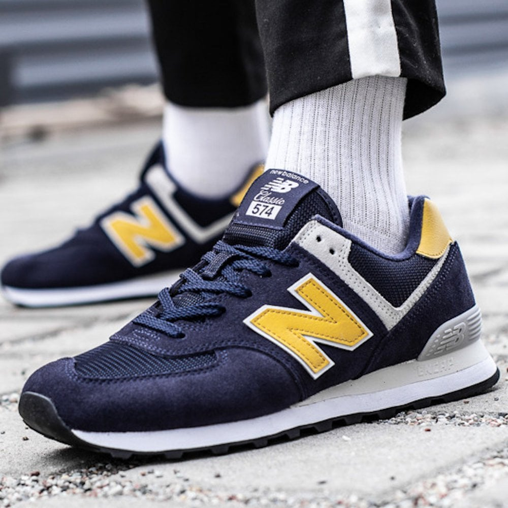 quality design acb2a 4ace4 New Balance Mens 574 Core Suede Lace Up Sneakers - Navy Yellow