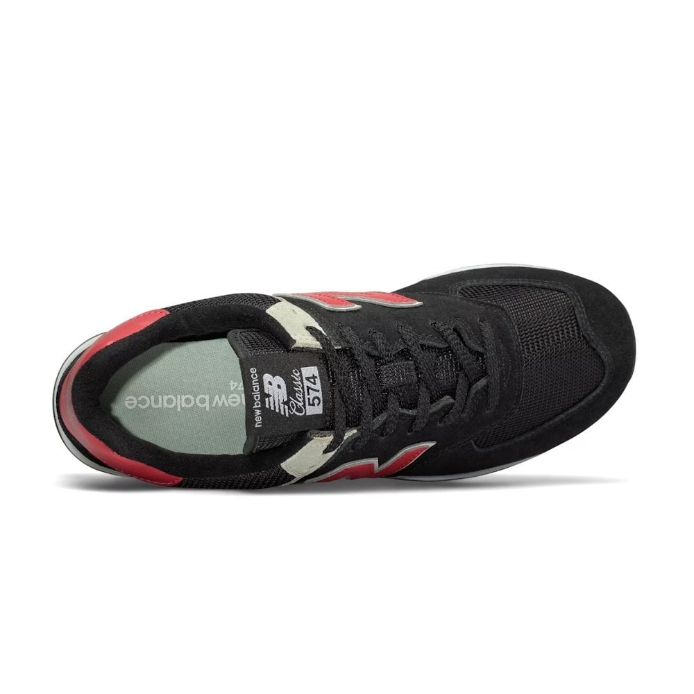 meet 74690 2478f ... New Balance Mens 574 Core Suede Lace Up Sneakers - Black Red ...