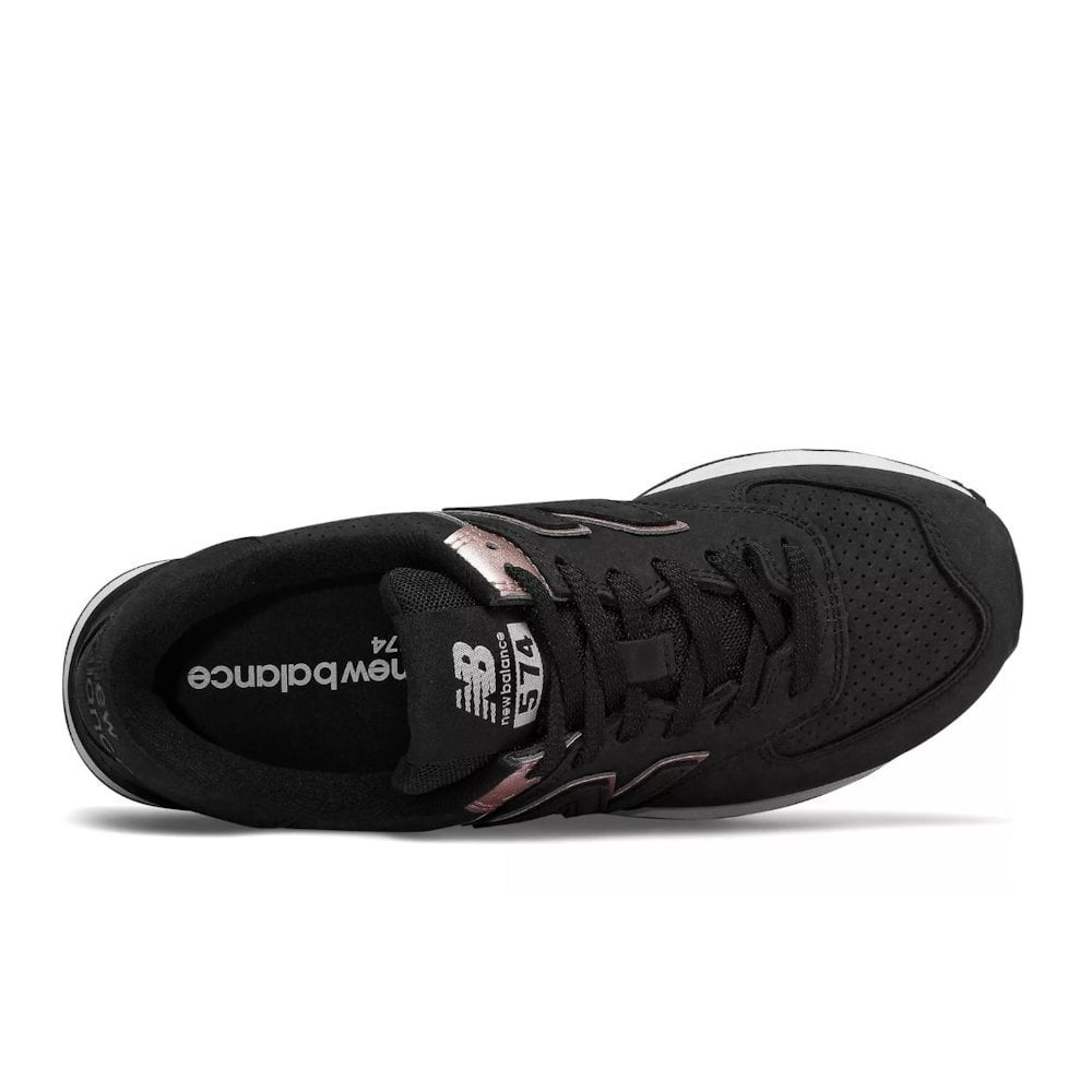 promo code a2dd7 d61c4 New Balance Womens 574 Nubuk Lace Up Sneakers - Black