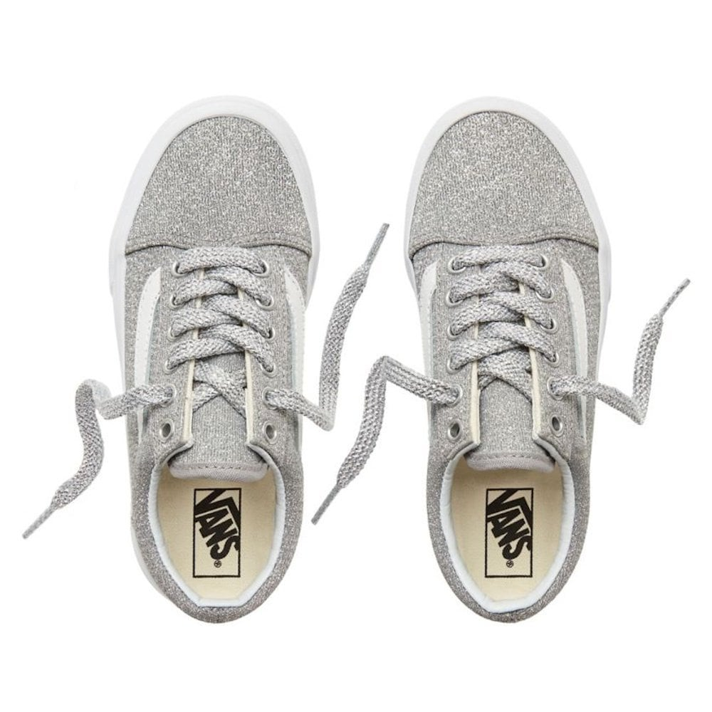 0b52b2042a1c Vans Kids Lurex Glitter Old Skool Shoes - Silver   Millars Shoe Store