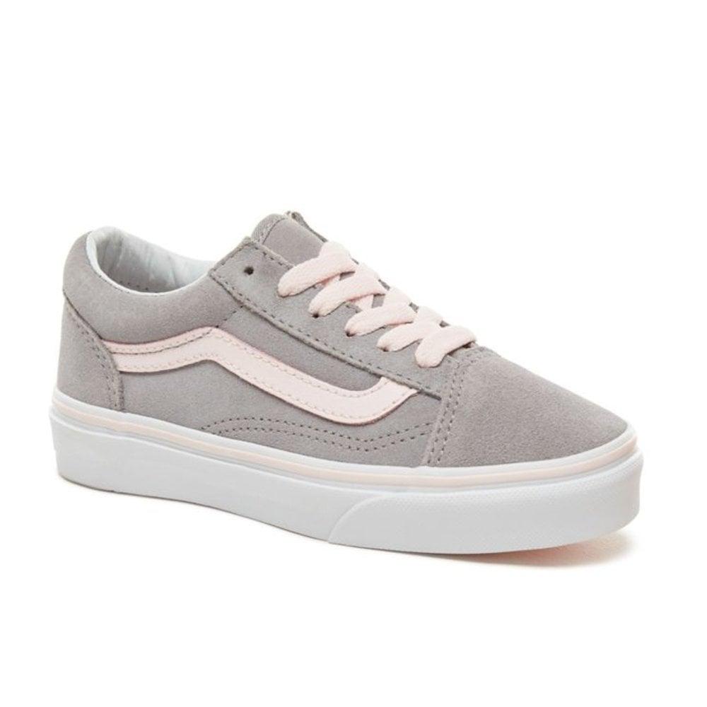 Vans Kids Suede Lace Up Old Skool Shoes GreyPink