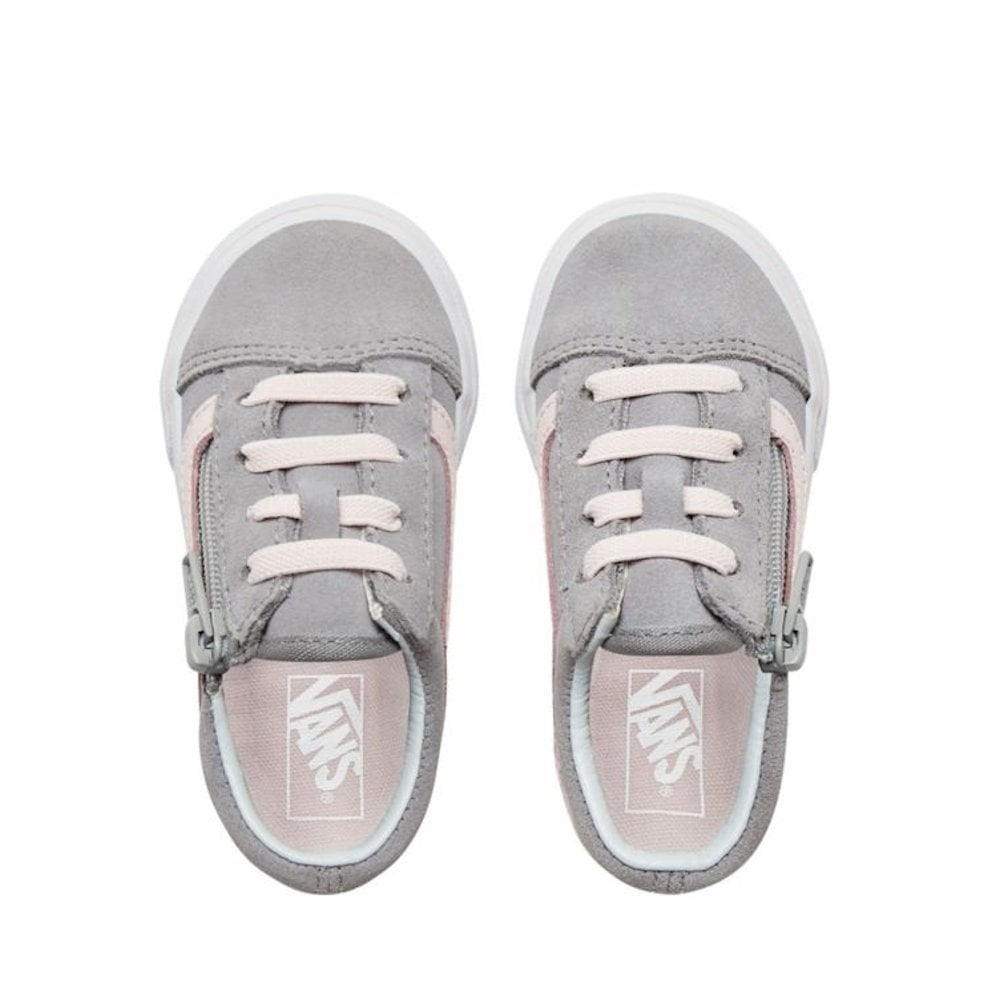 9b48c48aa39 Vans Kids Toddler Suede Old Skool Zip Shoes - Grey Pink   Millars ...