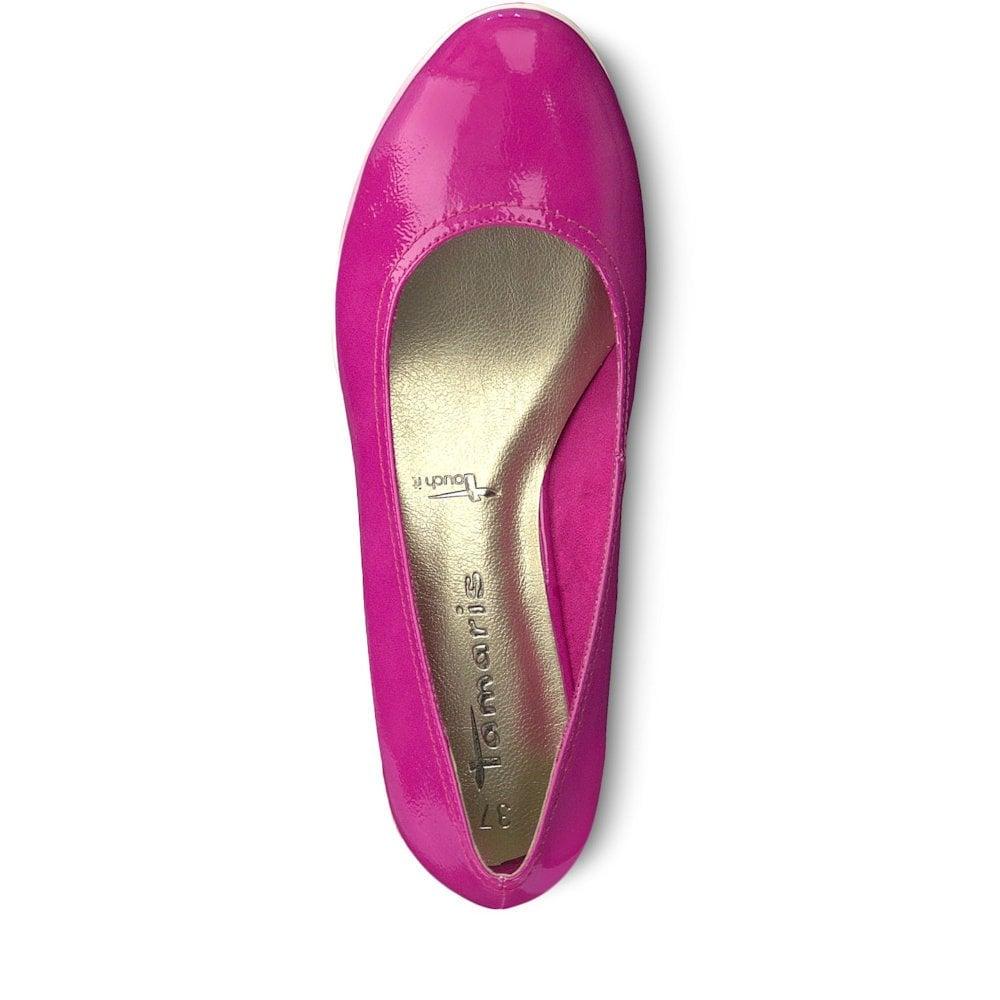 Tamaris Womens Rosario Wedge Pumps Pink Patent