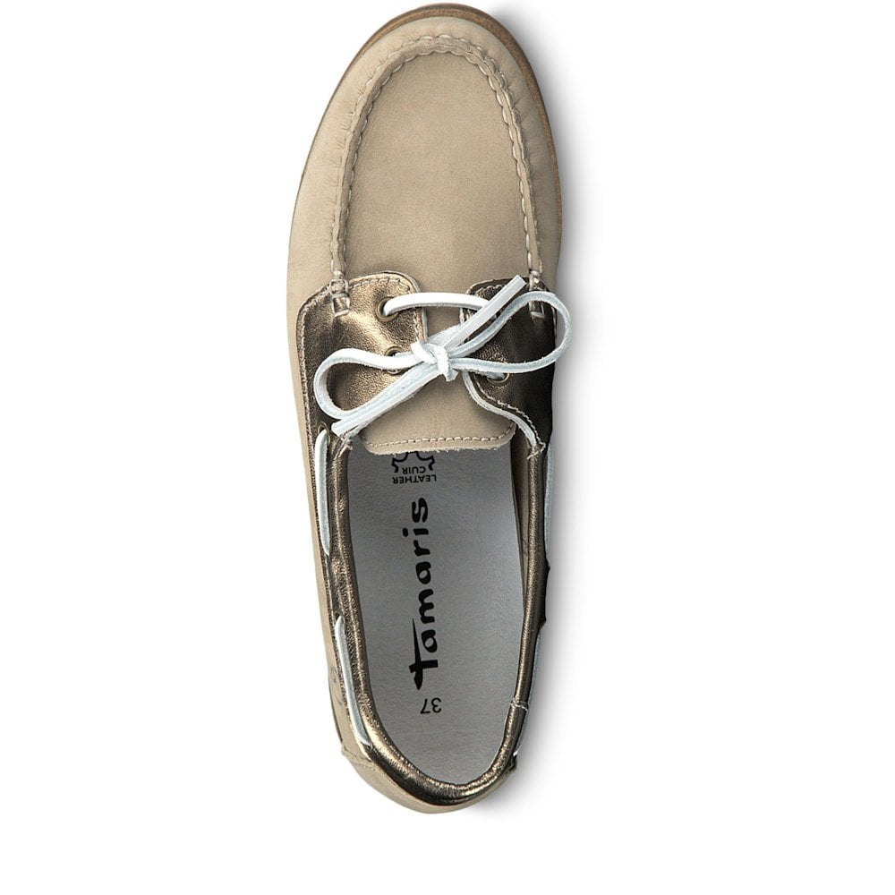 6e2b79905b64 Tamaris Folk Womens Boat Shoes- Beige Nubuc   Millars Shoe Store