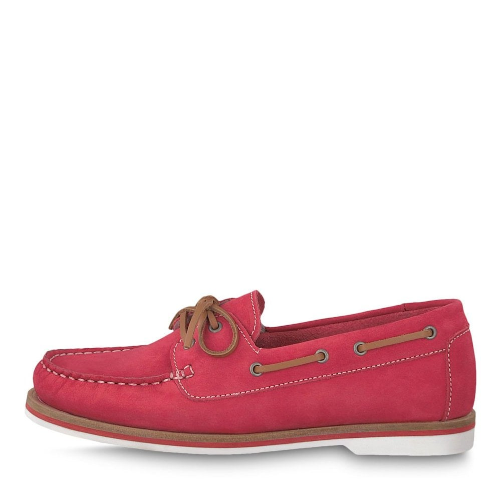 7e2dc7e84d56 Tamaris Folk Womens Boat Shoes- Red Nubuc   Millars Shoe Store