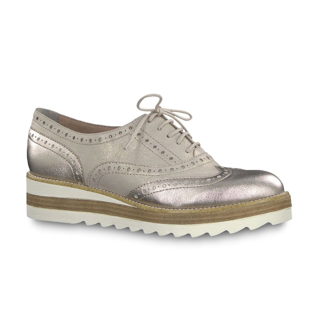 7f574255057c Tamaris Womens Lace Up Brogue Shoes - Champagne Metallic   Millars Shoe  Store