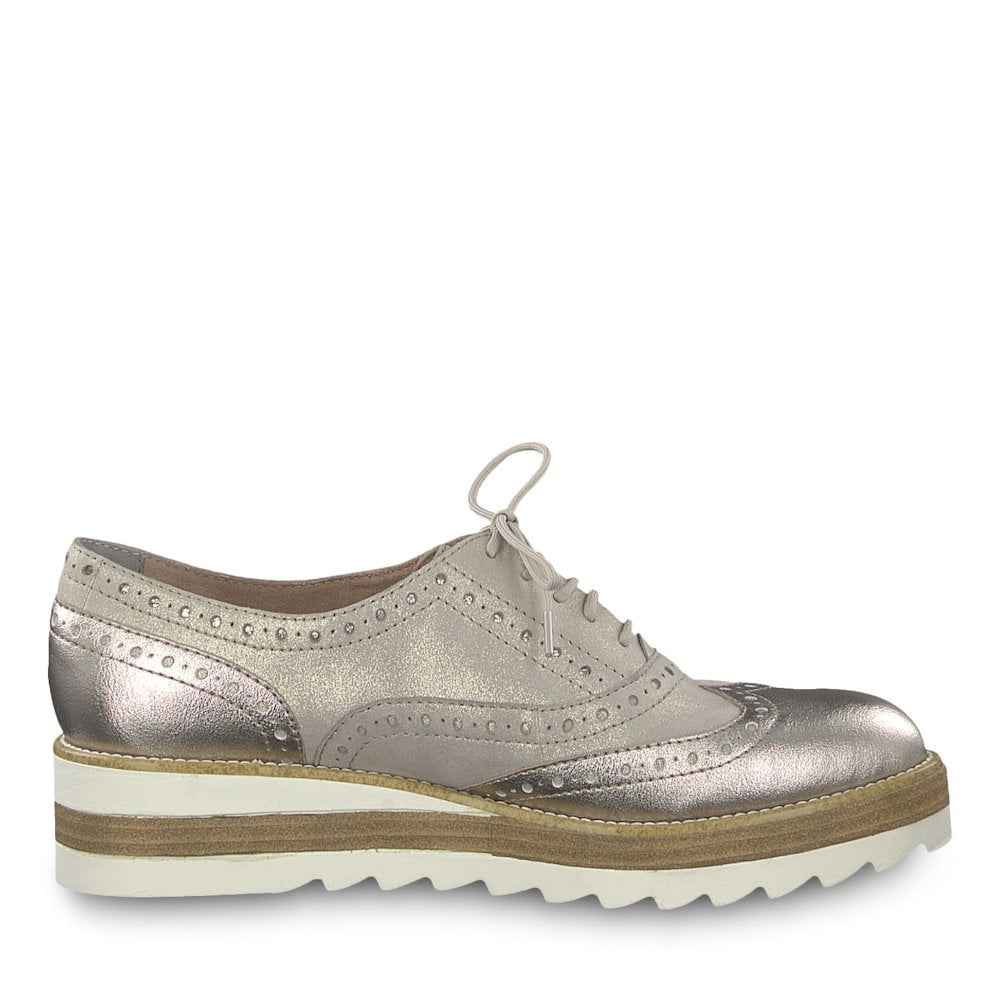 8610f9e9f411 Tamaris Womens Lace Up Brogue Shoes - Champagne Metallic   Millars ...