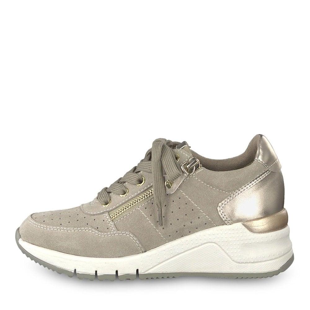 f55e01ac Tamaris Womens Wedge Sneakers Shoes - Taupe / Millars Shoe Store