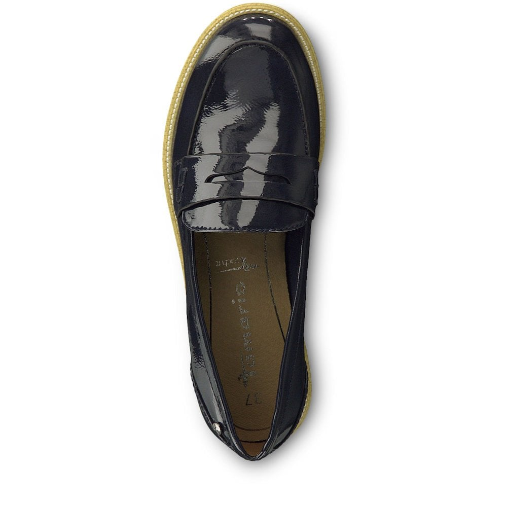 4e95fd7b05e1 Tamaris Crissy Womens Loafer Shoes - Navy Patent   Millars Shoe Store