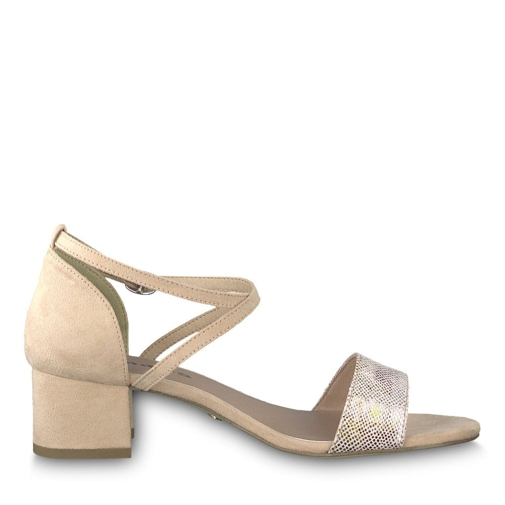 Tamaris Elegant Low Heeled Sandals Rose Flower