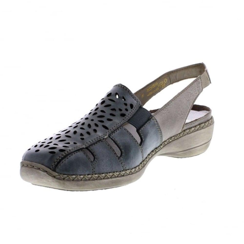 eec962934a3 ... Rieker Womens Leather Casual Slingback Shoes - Sky Blue Ice ...