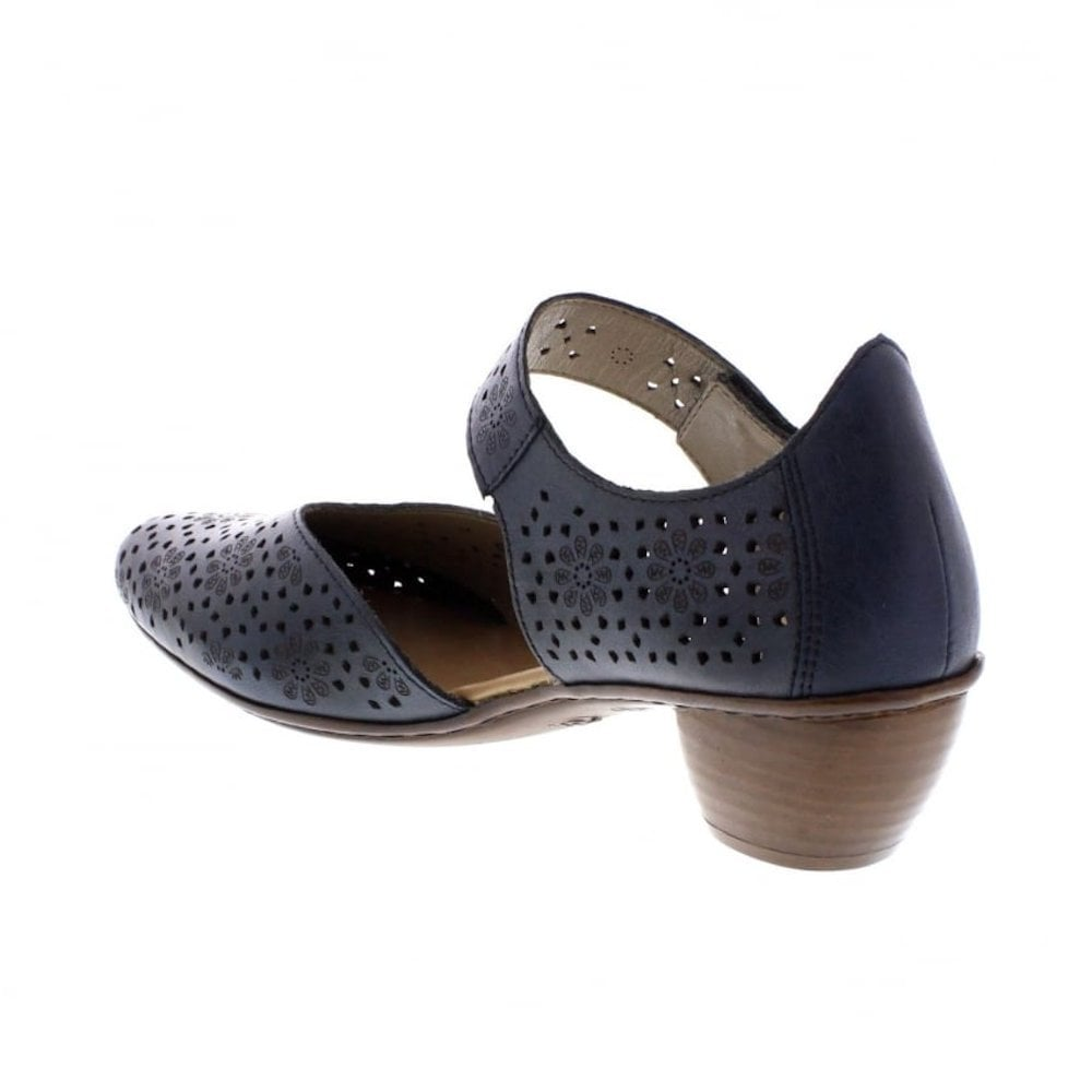 0ab390a32f8 Rieker Womens Leather Casual Mary Jane Shoes - Navy   Millars Shoe Store