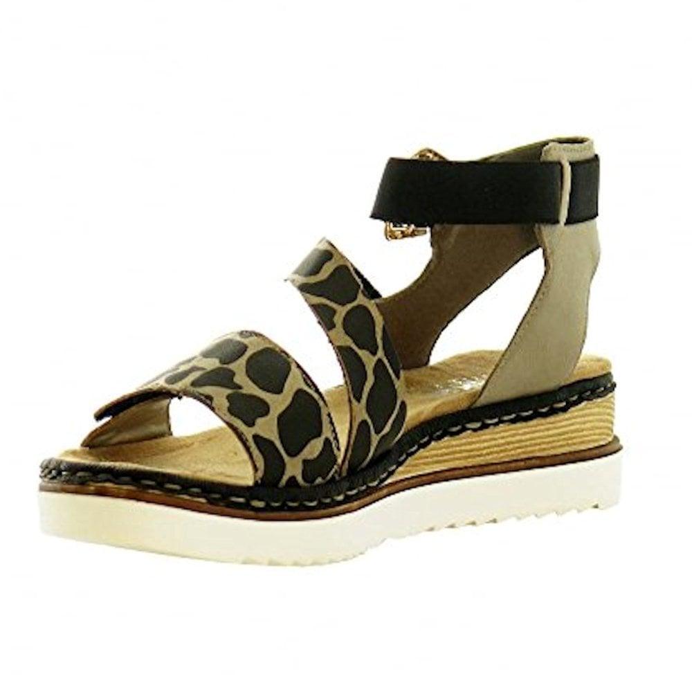 cb4d047ce70a ... Rieker Womens Flat Leopard Patterned Ankle Strap Sandals - Brown Black  ...
