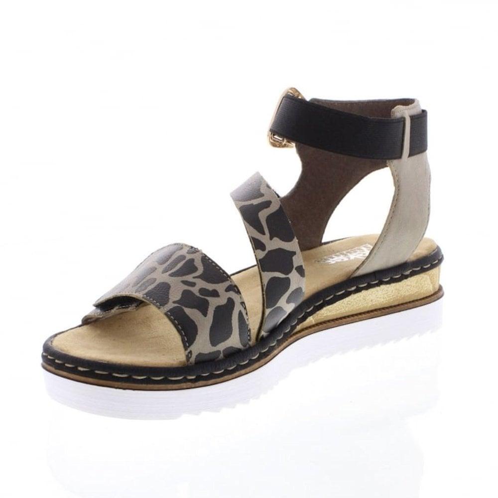 388d98566077 ... Rieker Womens Flat Leopard Patterned Ankle Strap Sandals - Brown Black