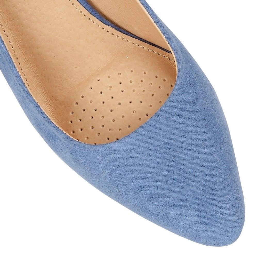 bf7b32be8f0 ... Lotus Lizzie Cornflower Microfibre Heeled Sling-Back Shoes - Blue ...