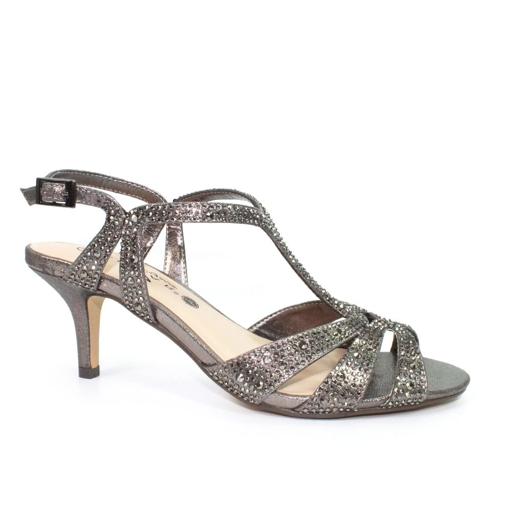 d50c14d06a5 Lunar Francie Occasion Wide Fit Gemstone Low Heel Sandals - Pewter ...