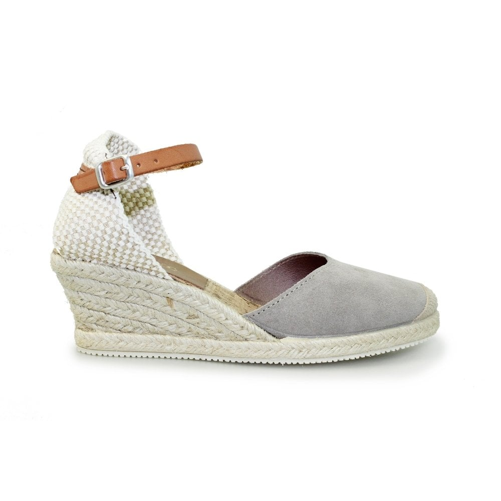 ca6bf20d4fed ... Lunar Jolie Espadrille Closed Toe Wedge Sandals - Grey ...