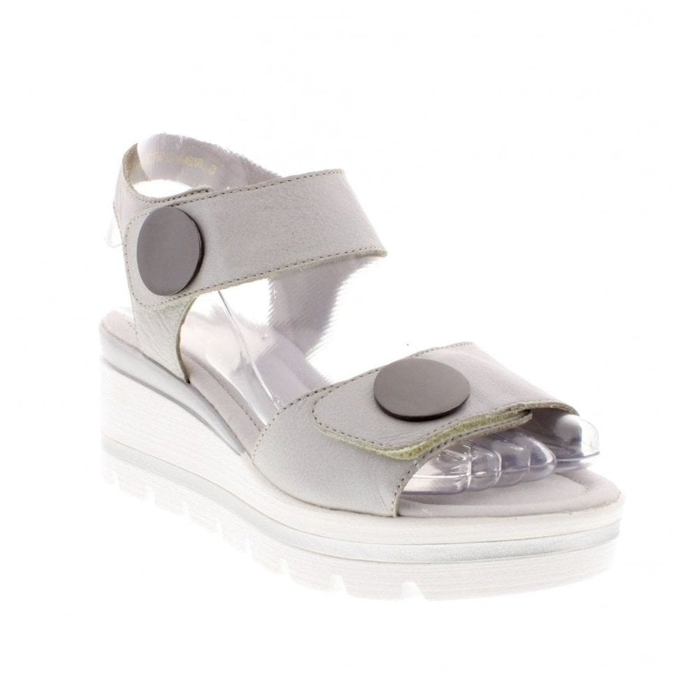 9e76bd8e4494 ... Remonte D1565-90 Ladies Buttons Silver Wedge Heeled Sandals ...