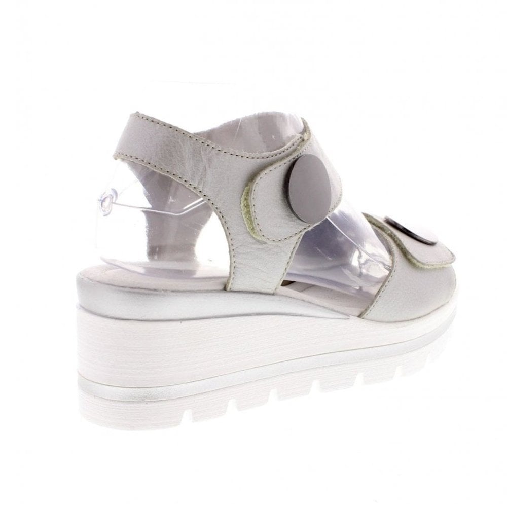35d47edf099f Remonte D1565-90 Ladies Buttons Silver Wedge Heeled Sandals ...